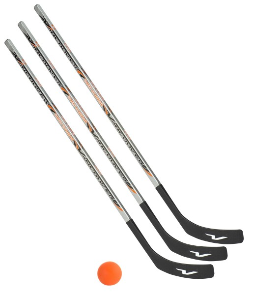 3 x Vancouver Streethockeyschläger 125 cm, Junior plus 1 Hockey-Ball