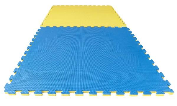 Puzzlematte Econo 2 cm Crosstexture blau/gelb Wendematte